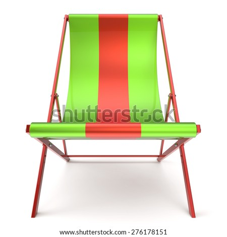 Beach chair chaise longue green red nobody relaxation holidays spa resort summer sun tropical sunbathing travel leisure comfort outdoor concept. 3d render isolated on white - stock photo