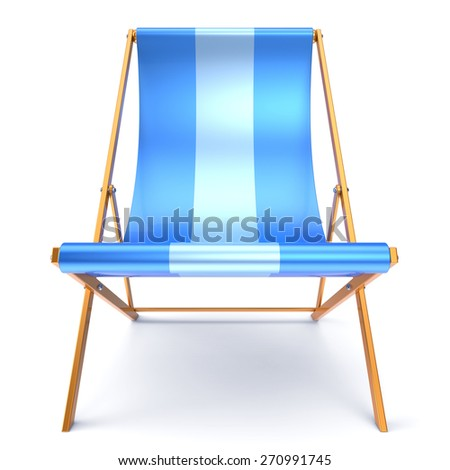 Beach chair chaise longue nobody blue relaxation holidays spa resort summer sun tropical sunbathing travel leisure comfort outdoor concept. 3d render isolated on white - stock photo