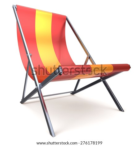 Beach chair chaise longue red yellow nobody relaxation holidays spa resort summer sun tropical sunbathing travel leisure comfort outdoor concept. 3d render isolated on white - stock photo