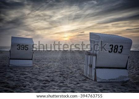beach chair of Sylt - stock photo