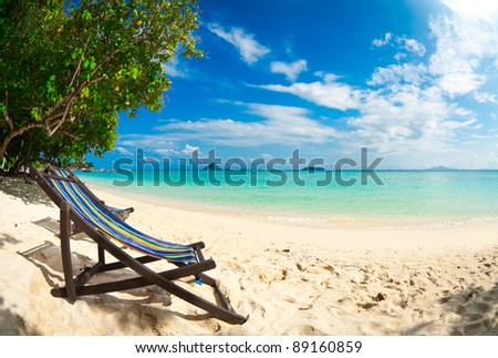 Beach chair on perfect tropical sand beach, Phi Phi Island, Thailand - stock photo