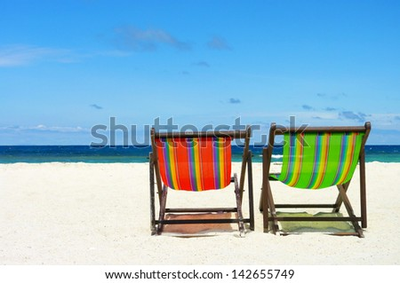 Beach chair on perfect tropical sand beach, Samui Island, Thailand
