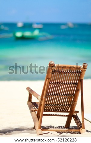 Beach chair on perfect tropical white sand beach in Boracay, Philippines