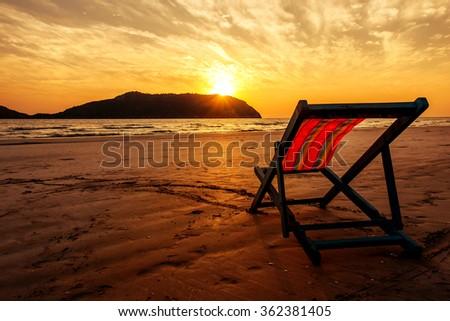 Portrait Beautiful Beach Chairs On Holidays Stock Photo 519987004