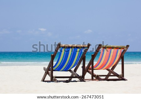 Beach chair with beautiful from nature