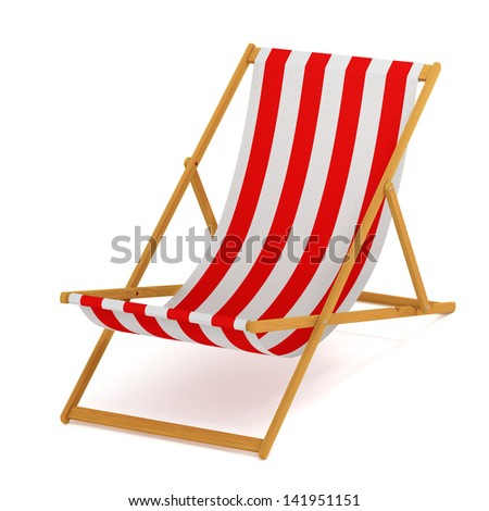 Beach chair with red and white stripes - stock photo