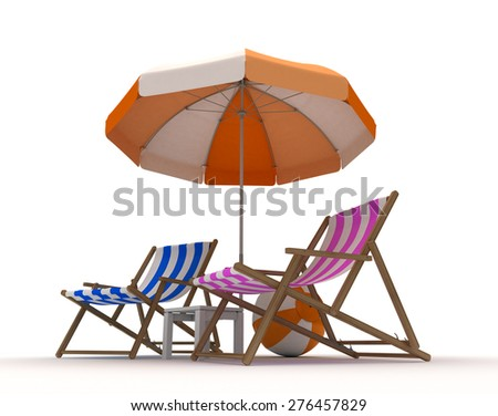 Beach Chairs and Beach Ball - stock photo