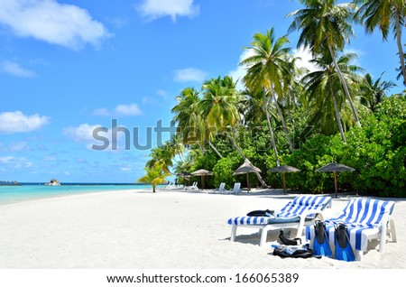 Beach chairs and snorkeling equipment on the tropical beach -- Tropical Vacation Concept  - stock photo