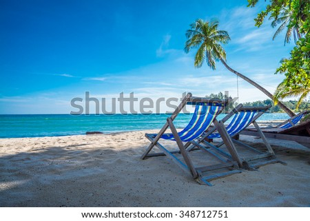 Beach chairs on beautiful tropical island beach - Koh Kood, Trat Thailand