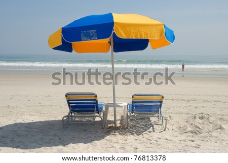 Beach chairs on the beach daytona beach florida usa - stock photo