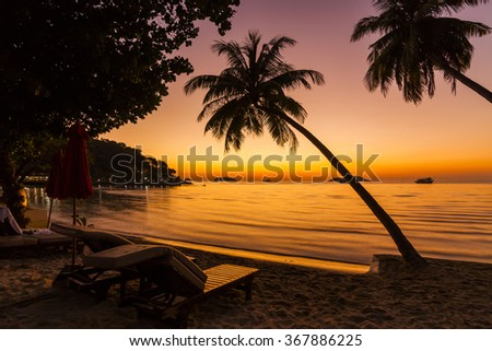Beach chairs on the shore of a tropical island. Koh Chang. Thailand. - stock photo