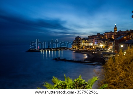 Beach cityscape night view / Bogliasco Liguria Italy / Dark night sea view