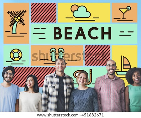 Beach Coast Ocean Sea Shore Summer Travel Concept - stock photo
