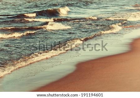 Beach coastline at calm summer day  - stock photo
