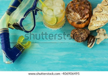 Beach cocktail background. Beach drink. Tropical relax. Beach cocktail. Beach party.   - stock photo