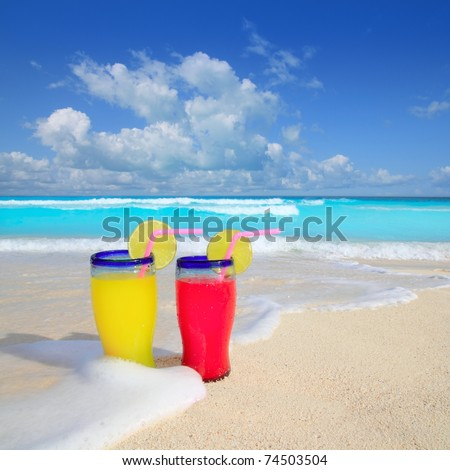 beach cocktails yellow red wave foam in tropical sea sand - stock photo