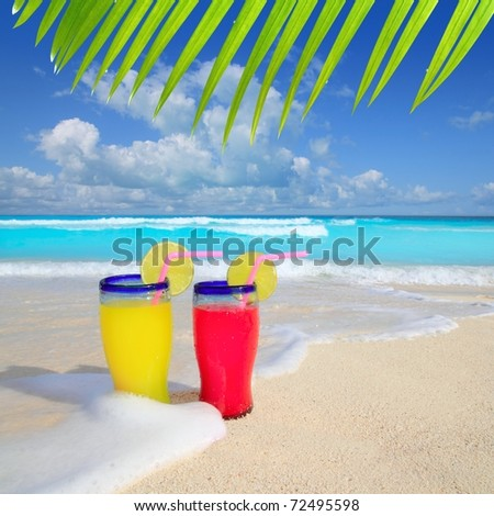 beach cocktails yellow red wave foam in tropical sea sand [Photo Illustration] - stock photo