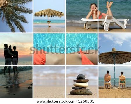 beach collage - stock photo