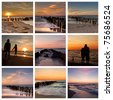 Beach Collage : Summer Sunset - stock photo