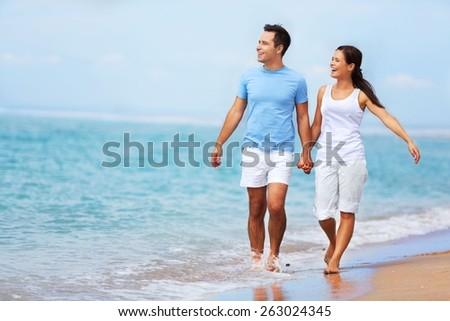 Beach, Couple, People. - stock photo