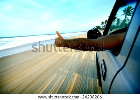 beach drive - stock photo