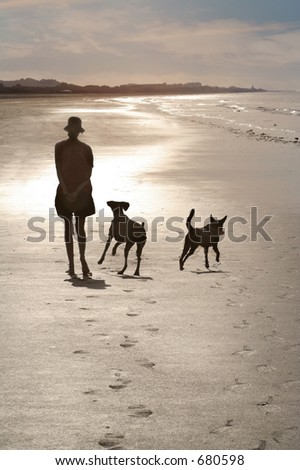 beach early in the morning - stock photo