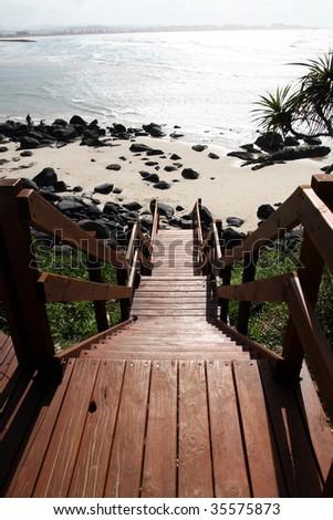 beach entrance to green mount beach on the gold coast queensland australia - stock photo