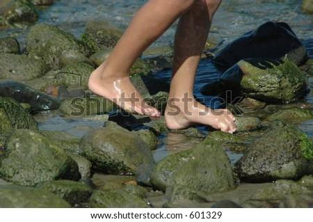 beach feet - stock photo