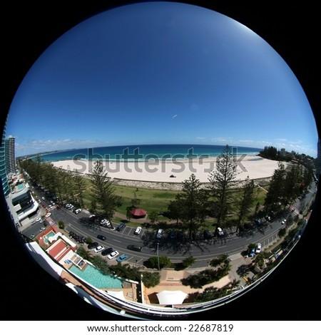 Beach from the balcony, - stock photo