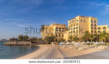 Beach front hotels in Abu Dhabi - stock photo