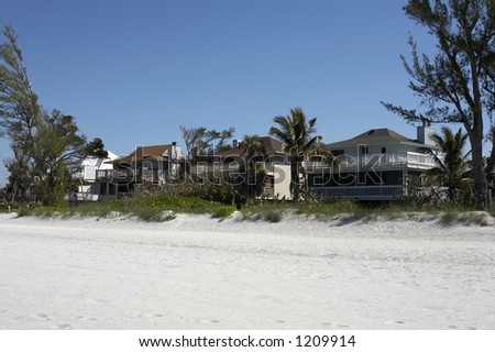 Beach front houses on captiva island Florida America united states taken in march 2006 - stock photo