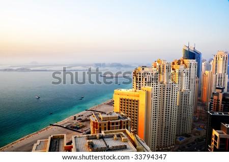 Beach Front Living in Dubai - stock photo