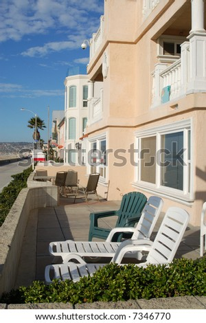 Beach-front vacation property; Mission Beach; San Diego, California - stock photo