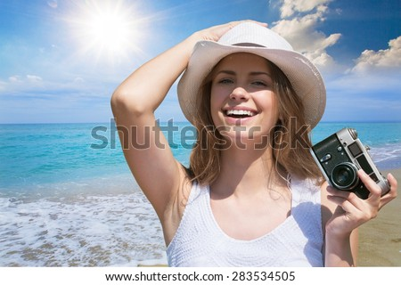 Beach, girl, bikini. - stock photo