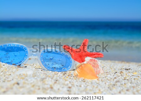 beach goggles and shells on the sand - stock photo