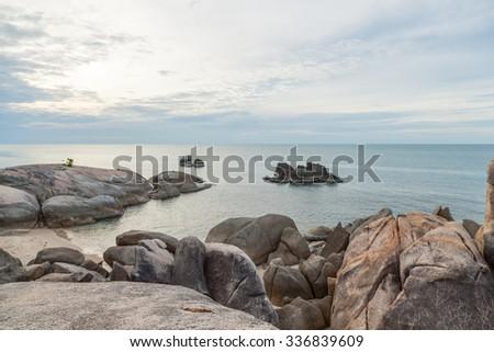 Beach Grandfather Rock Koh Samui in Thailand Travel Essentials - stock photo