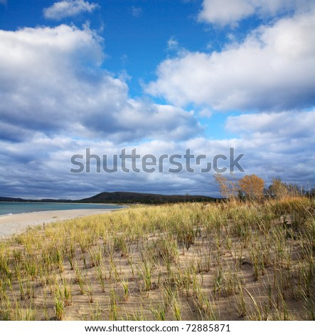 Beach Grass And The Lake Michigan Coast At Sleeping Bear Point, Glen Haven Michigan, USA - stock photo