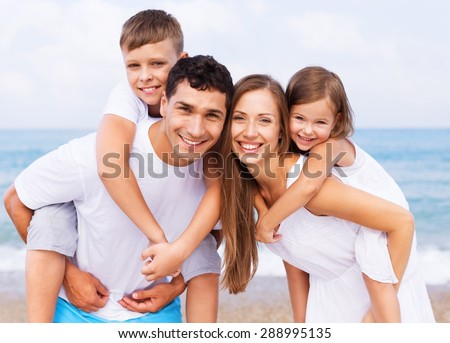 Beach, group, fun. - stock photo