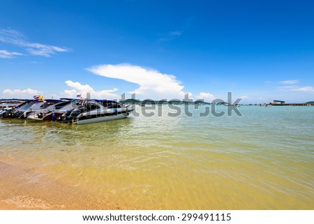 Beach harbor area for tourist traveling to the sea at Chalong Bay famous attractions in Phuket island, Thailand - stock photo