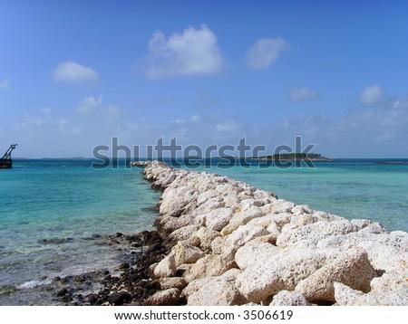 Beach Harbour Rock Wall - stock photo