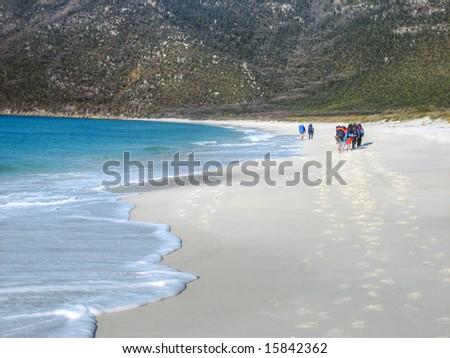 Beach hike in Wilson's Promonotory, Australia - stock photo