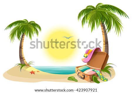 Beach holidays on summer vacations. Tropical sun, sea, palm trees, sand and open suitcase. Cartoon illustration - stock photo
