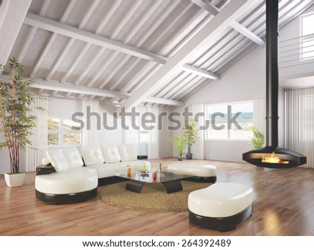Beach house bungalow furnished and decorated with wood floors and a working fireplace with a beach scene background. Photo realistic 3d rendering. - stock photo