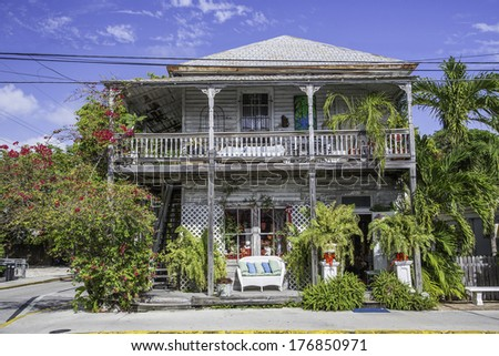 Beach House in the Florida Keys, Florida USA - stock photo