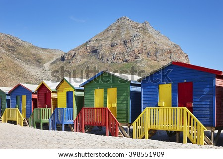 Beach houses on the beach of Muizenberg, South Africa on the 23th of February 2016 - stock photo