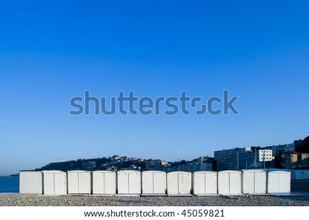 Beach Houses on the shore of Le Havre France. - stock photo