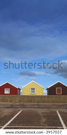 beach huts and parking spaces