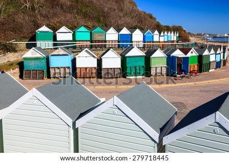 Beach huts at Middle Chine beach Bournemouth Dorset England UK Europe - stock photo