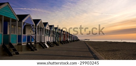 Beach Huts at Southwold, Suffolk, England - stock photo