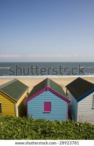 Beach Huts at Southwold Suffolk UK - stock photo